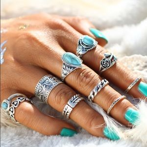 Jewelry - Boho Stone Ring Set 10pcs